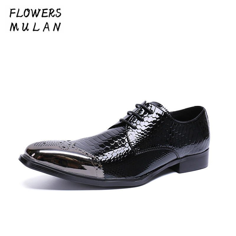 Summer New Patent Genuine Leather Men Dress Shoes Silver Metal Toe Lace Up Business Shoes Male Chunky Heel Party Wedding Shoes 2017 men s cow leather shoes patent leather dress office wedding party shoes basic style pointed toe lace up eu38 44 size