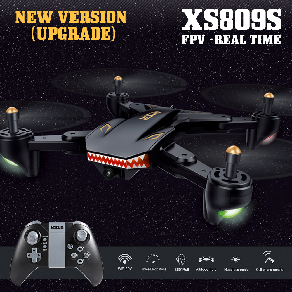 XS809S FPV RC Quadcopter Fold RC Drone With Wifi Camera 2.4G 6-Axis RTF G-Sensor One Key Return RC Helicopter Toys VS XS809HW professional rc drone fx r111f 5 8g fpv quadcopter 2 0mp camera 6 axis rc drone one key return headless mode led rtf vs q212g