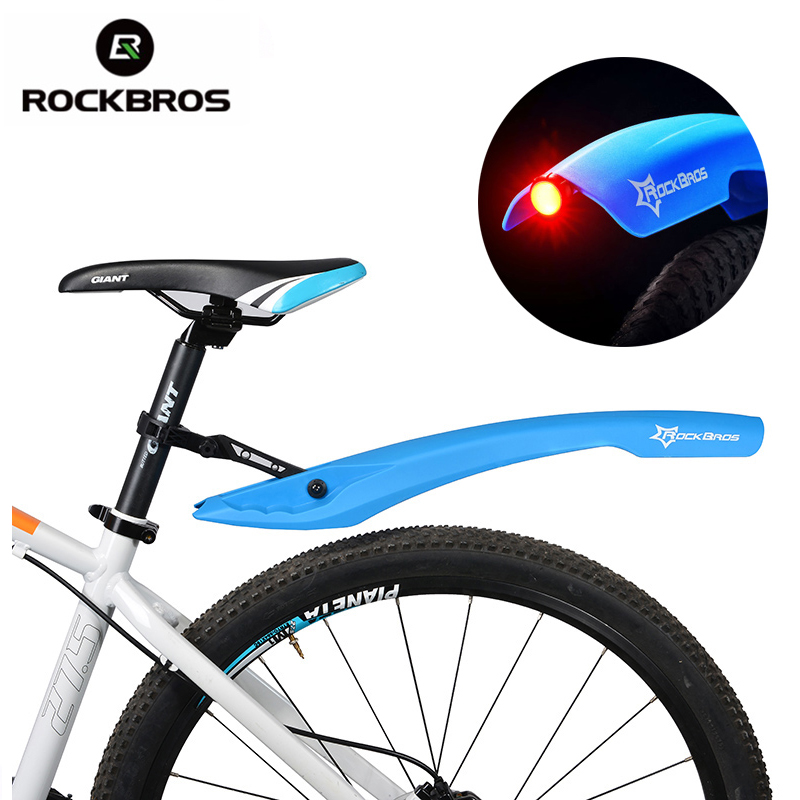 ROCKBROS Flectional Bike MTB Front Rear LED Mudguard Set Cycling Bicycle Durable <font><b>Fender</b></font> Plastic With LED Light Quick Release