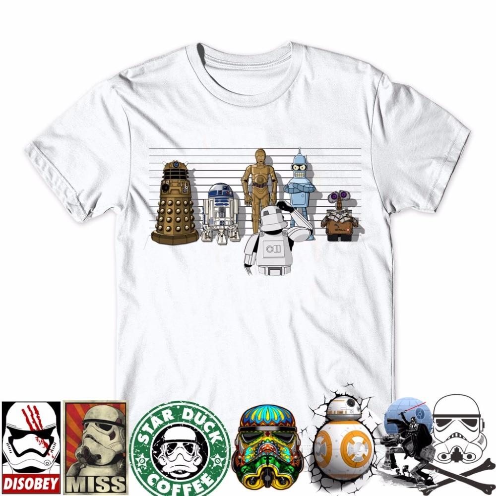 21kind 2017 Creative droids Printed Star War   T  -  Shirt   robot   shirt   Boy Novelty Men's sleeve   T     shirt   Tops Fashion Tees Darth Vader