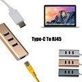 2016 горячие продажа мода USB3.1 Type-C для RJ45 Ethernet LAN адаптер С 3 Порта USB 3.0 Хаб Для MacBook очень приятно