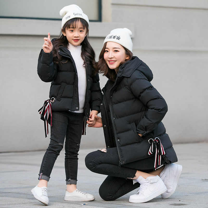 55d9f5988bb6 ... Family Matching Clothing Mother Daughter Clothes Outfits winter coats  Fashion Mom And Kids pink/black ...