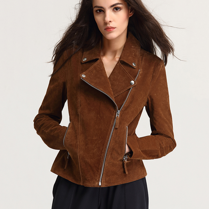 Fashion Genuine Leather Jacket Women Zipper Slim Motorcycle Outerwear Coats Turn-down Collar Basic Jackets