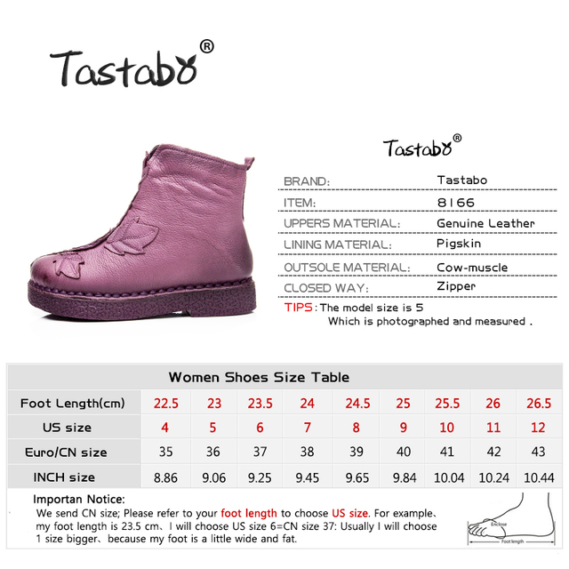 Tastabo 2017 Women Winter Ankle Boots Handmade Velvet Flat With Boots Shoe Folk Style Comfortable Casual Shoe Women Snow Boots