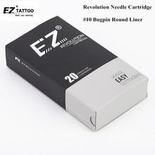 EZ New Revolution Needle Cartridge #10 Bugpin Long Taper Round Liner Tattoo for Rotary Machine Pen 20PCS/Box