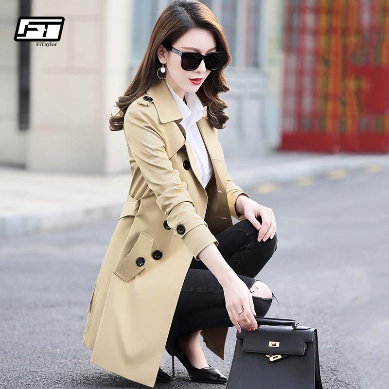 Fitaylor Autumn Winter Women Double Breasted Trench Coats Medium Long Slim Waterproof Raincoat Business Outerwear Plus Size 5XL