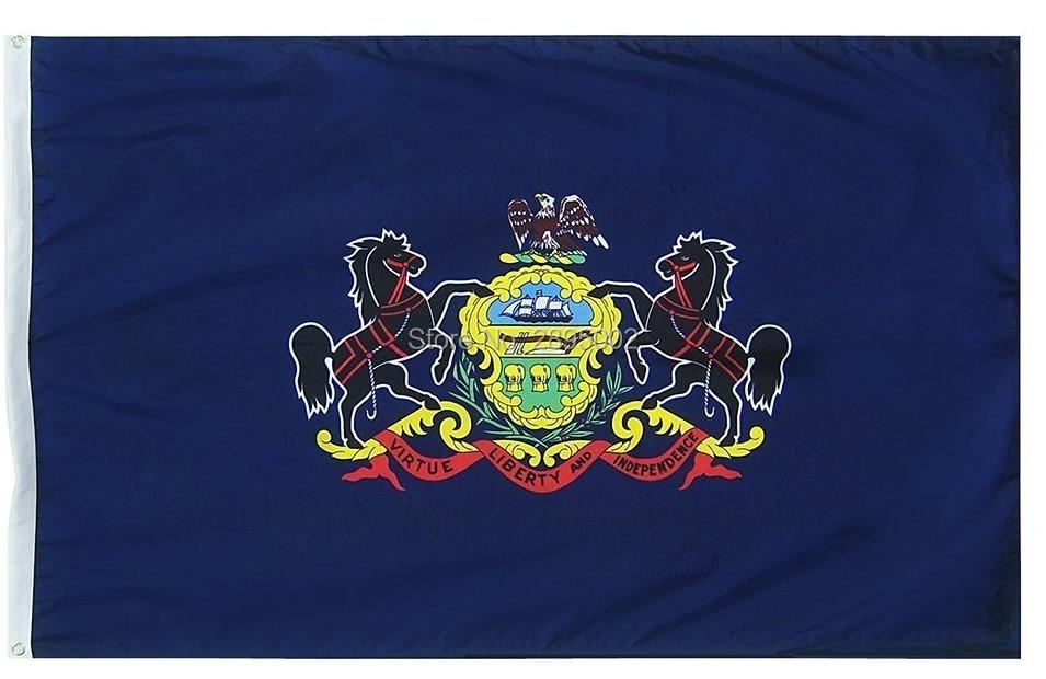 Pennsylvania State Flag Polyester grommets 3 x 5 Banner metal holes Flag