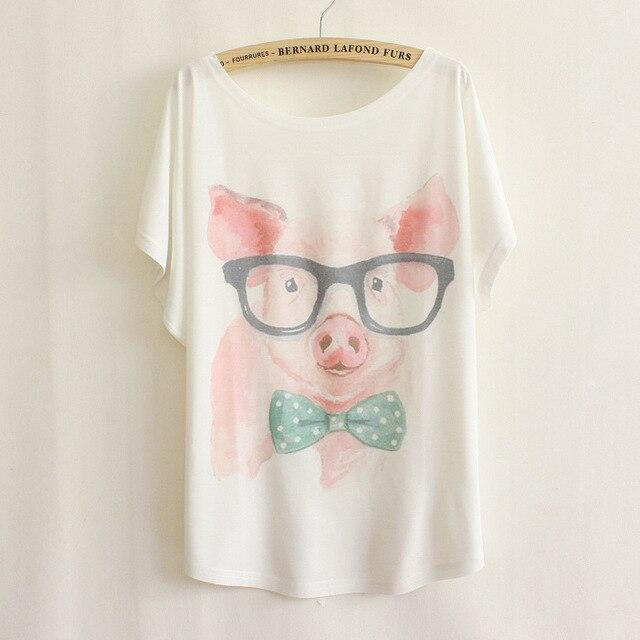nieuwe 2014 geek shirt varken vrouwen t-shirt top met korte mouwen
