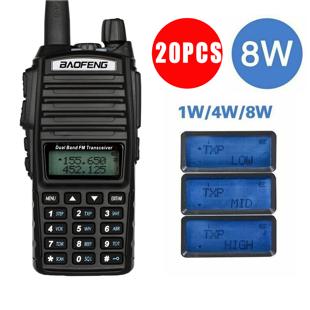 By DHL Or EMS 20Pcs Baofeng UV-82  8W 10KM Long Range Powerful Walkie Talkie Portable CB  Two Way Radio Amador 8 Watts Of UV82