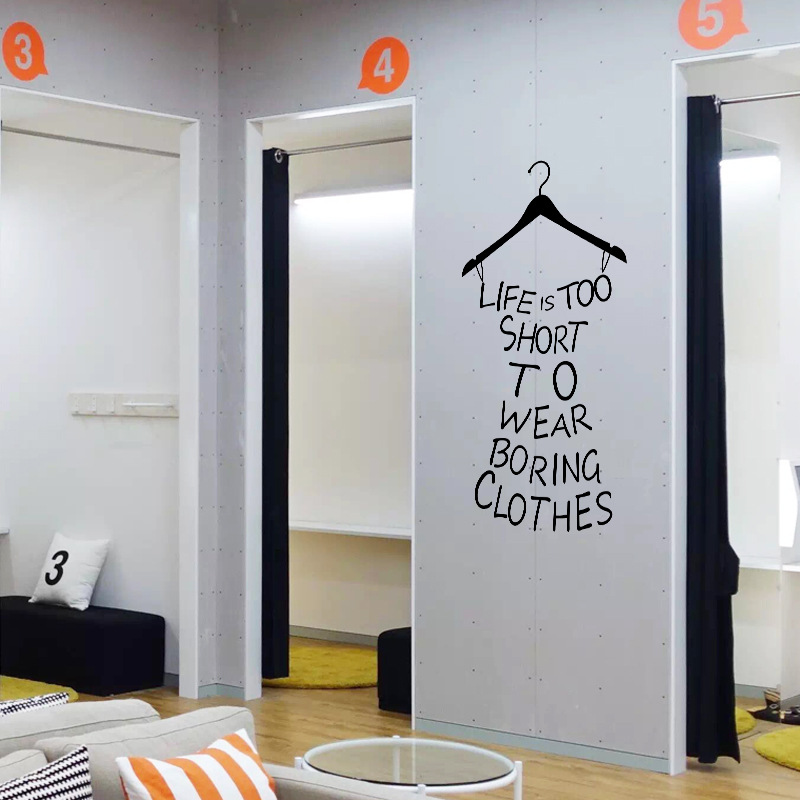 Clothes Tree Wardrobe Life Is Too Short To Wear Boring Clothes Quote Wall  Stickers Creative Dress Shape Wall Sticker Home Decor In Wall Stickers From  Home ... Part 62