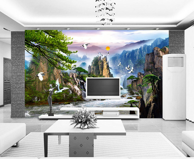 Fashion With House 3D Wallpaper HAWTHORNE Beautiful Land Of Classical Chinese Landscape Painting Simple TV Wall