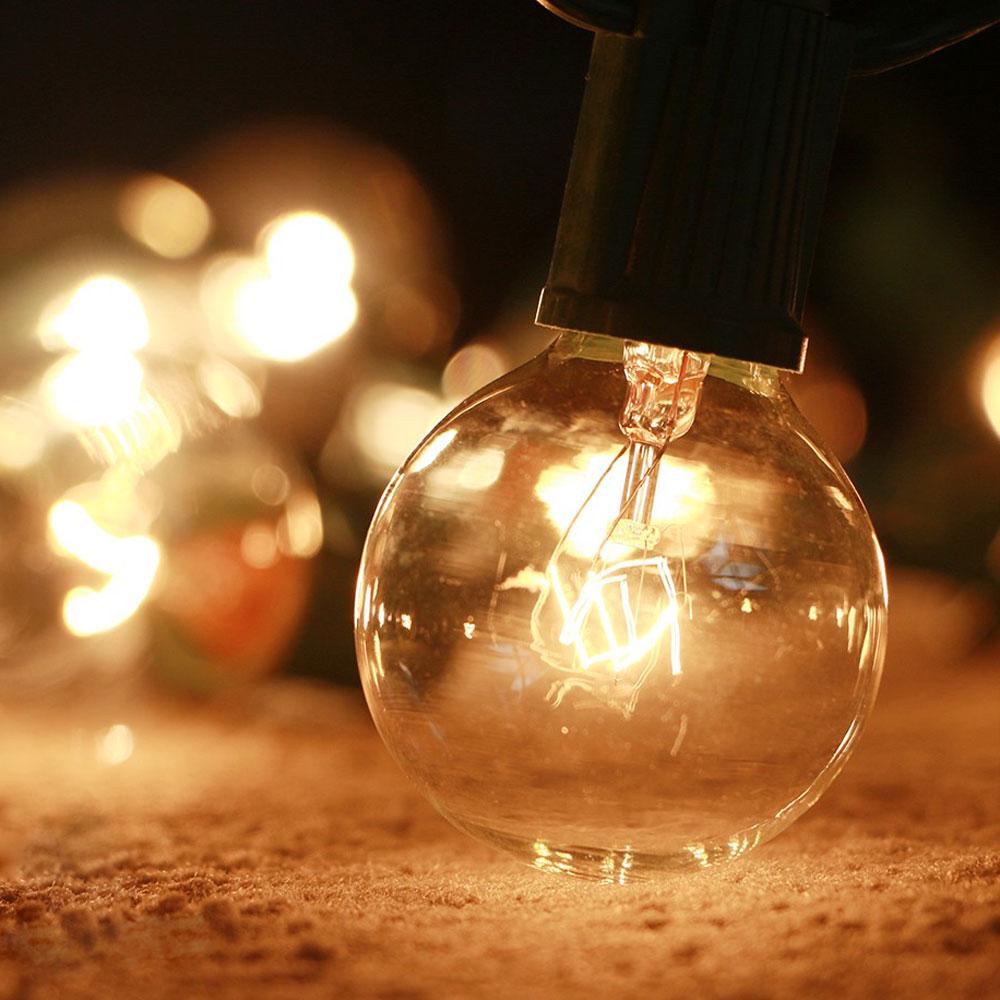 Bombillas incandescentes Globe G40 de 25X, cálida Bombillas de - Iluminación de vacaciones