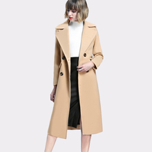 Autumn Winter Pink Solid Wool and Blends Coat Women Casual Loose Double Breasted Women Woolen Overcoat Warm Trench Outerwears