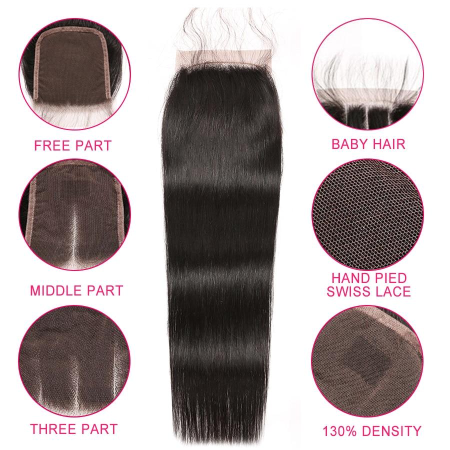 HTB1la0NXzDuK1Rjy1zjq6zraFXao Alipop Hair Straight Hair Bundles With Closure Peruvian Hair 3 Bundles With Closure Remy 100% Human Hair Bundles With Closure