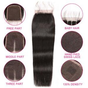 Image 4 - Alipop Haar Gerade Haar Bundles Mit Verschluss Peruanische Haar 3 Bundles Mit Verschluss Remy 100% Menschliches Haar Bundles Mit Verschluss