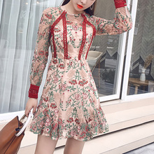 2019 heavy work embroidered stitching niche platycodon embroidery mesh girl small man slimming lady dress