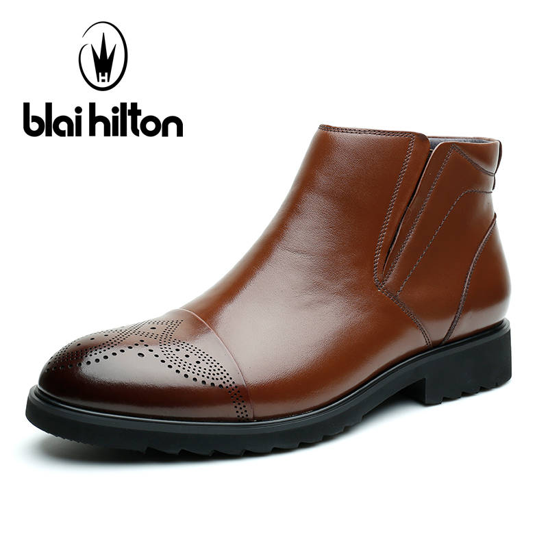 Blai Hilton British Autumn Winter 100% Luxury Genuine Cow Leather Western Cowboy Boots Men Shoes Warm Fur Men Ankle Snow Boots new arrival high genuine leather comfortable casual shoes men cow suede loafers shoes soft breathable autumn and winter warm fur