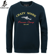 Пионерский Лагерь 2016 мода руно сгущает толстовки мужчины теплый 100% хлопок марка одежды casual male капюшоном акула мужчины футболка XXXL(China (Mainland))
