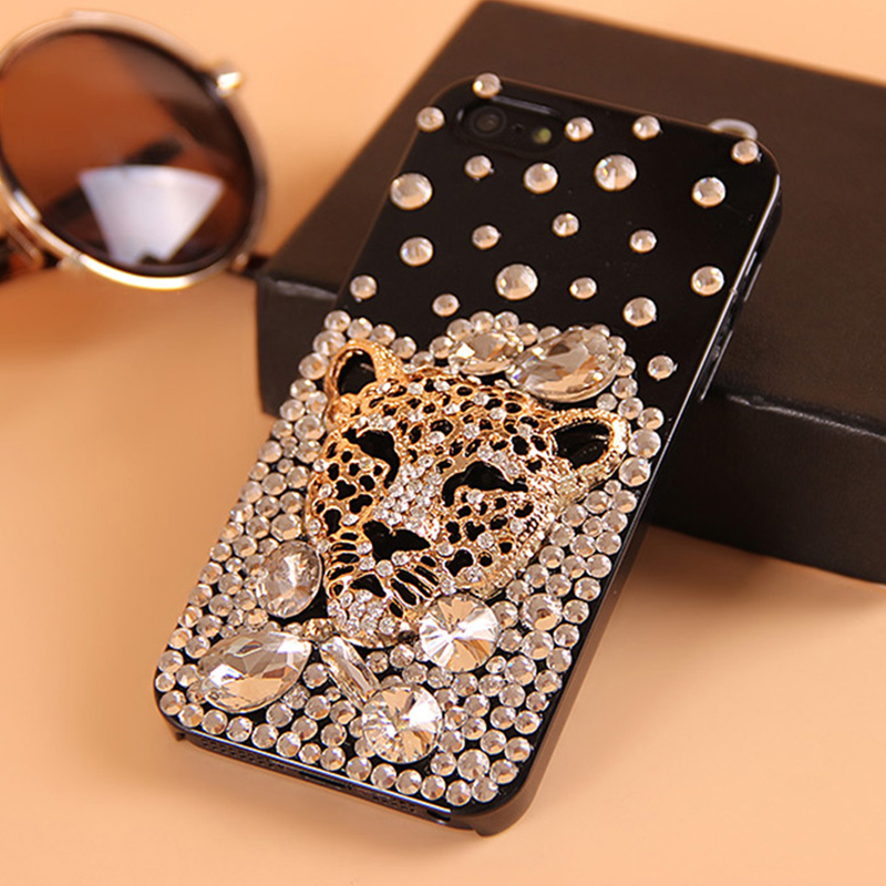 Diamond Crystal Leopard Rhinestone Phone Cases Coque Back Cover for iPhone 5s 5 SE 6s 6