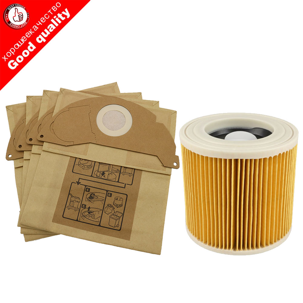 цена на 6Pcs paper bags+1Pcs dust Hepa filters for Karcher Vacuum Cleaners parts Cartridge HEPA Filter WD2250 WD3.200 MV2 MV3 WD3