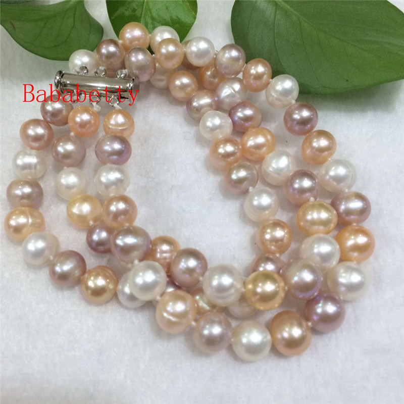 New natural breeding freshwater pearl suborbicular 8-9 mm A 3rows White, pink, purple color bracelet 8inches