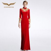 CONIEFOX 31622 Red China Style Luxury Prom Dresses Straight 2016 Winter Evening Party Dress Gown Xmas