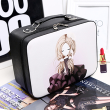 2017 new Cosmetic box female professional PU cosmetic bag women's large capacity storage handbag travel toiletry makeup bag