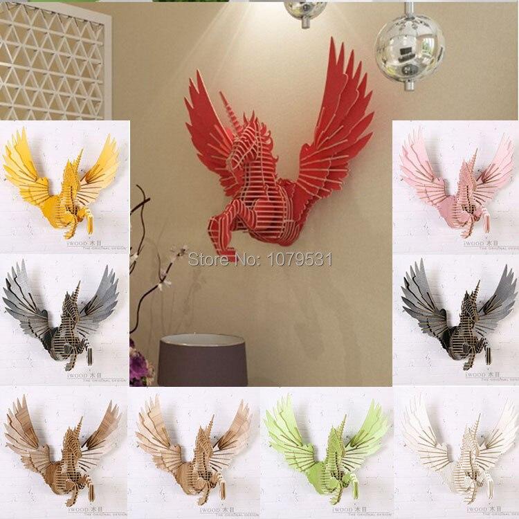 Aliexpress Com Buy Flying Unicorn Home Decoration Wall Art Diy Wooden Craft Wall Decor Home Decor