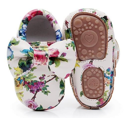 Hard Sole Lovely Bow Floral Baby Moccasins First Walker Shoes Flower PU Leather Baby Girls Shoes Fashion Infant First Walkers