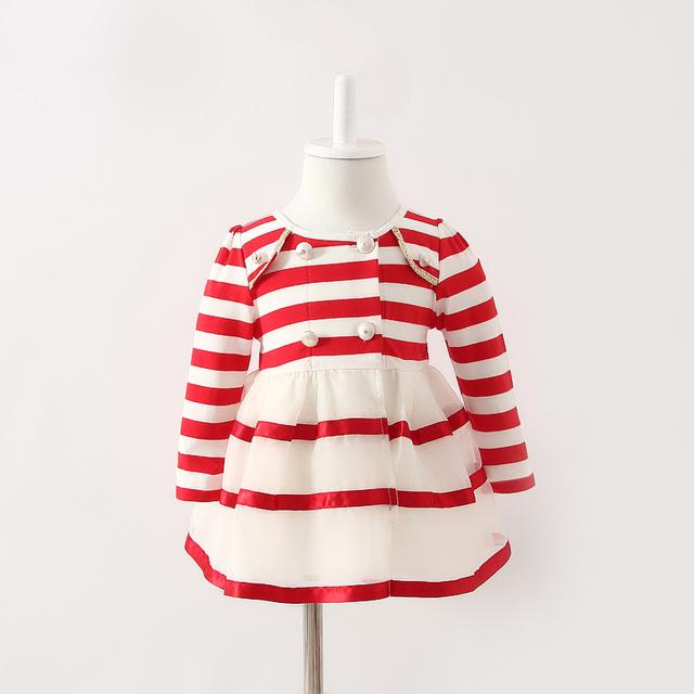 Al por menor estilo de inglaterra de rayas de los bebés ropa vestido infantil del bebé recién nacido de la navidad del bebé viste Red Navy 0-2yrs
