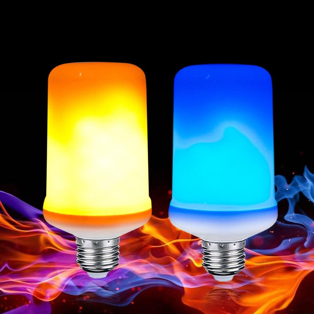 Dynamic Flame Effect Corn Bulb E27 9W 4 Modes Diode Emulation Creative Fire Lights Lampada Blue/Yellow Fire Ampoule LED