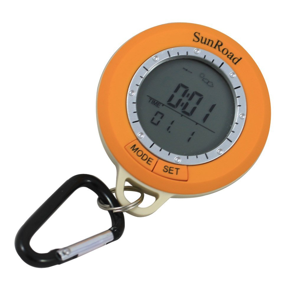 Sunroad SR108S Mini LCD Numérique Podomètre Orange Altimètre Baromètre Boussole Thermomètre Météo Externe Mousqueton Étanche