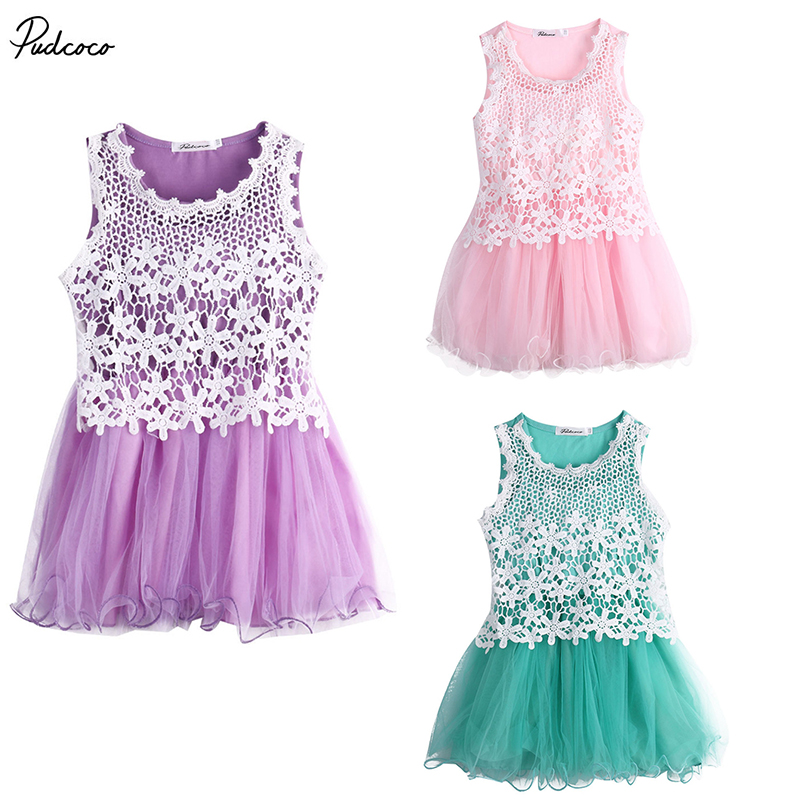 2017 Kids Baby Girls Fancy Lace Flower Tulle Gown Party