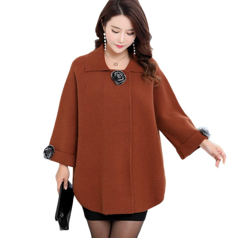 Women Knit Sweater Cardigan Jacket 2018 New Fashion Middle Age Mom Clothing Solid Loose Plus Size 6XL Bat Sleeve Sweater Tops