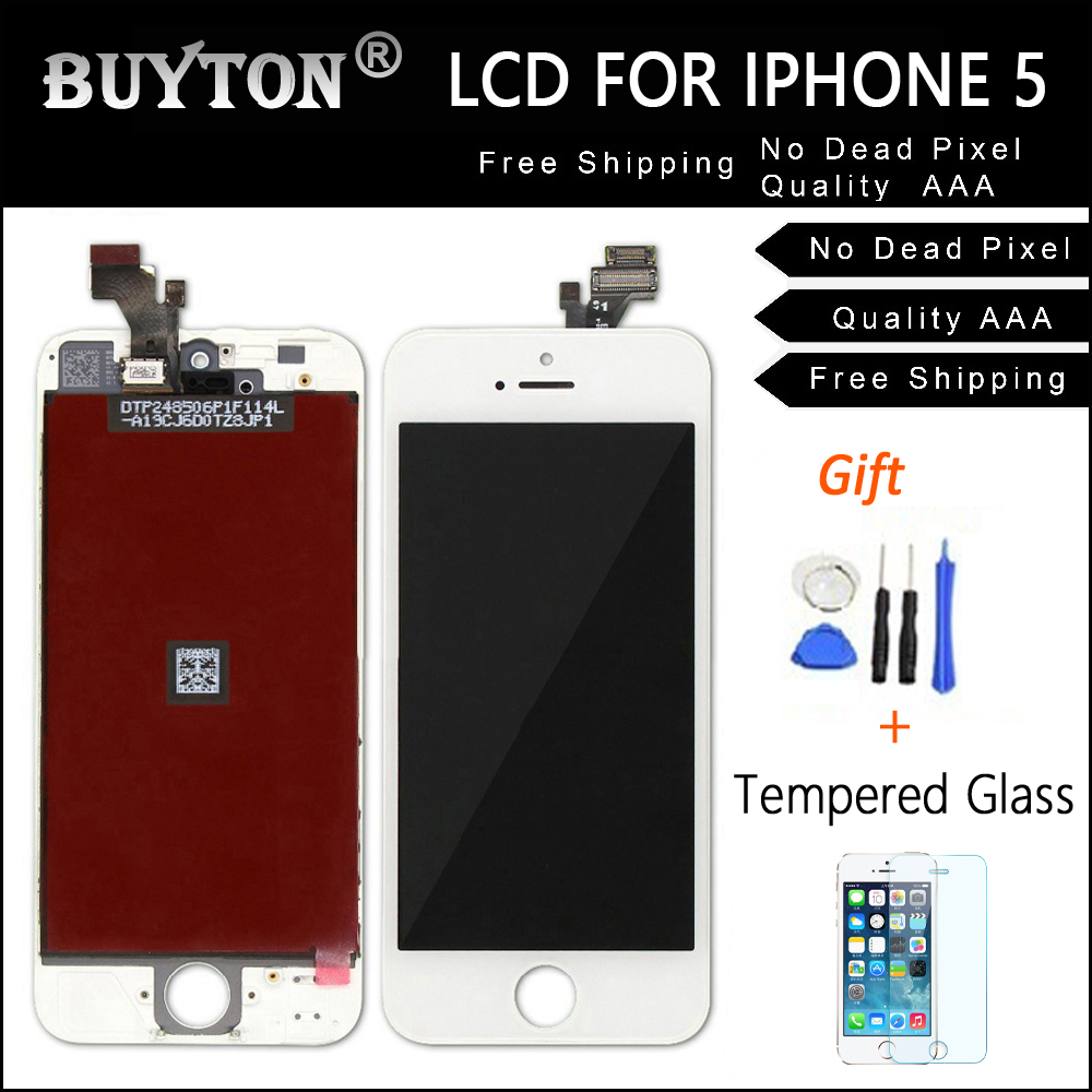 BUYTON AAA+ Black and Competitive Price High Quality For iPhone 5 5S LCD Touch Screen Digitizer Assembly Free Tool Kits