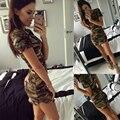 2016 Новые Моды для Женщин Лето Dress Коротким Рукавом Сексуальные Мини-Платья женщин Зеленый Камуфляж Печати Плюс Размер Женщины Vestidos