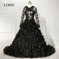 Black Long Sleeve Wedding Dresses 2018 LORIE Robe de mariage Ruffles Vintage Lace Sexy Bridal Dress Vestido de noiva