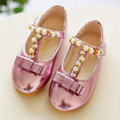 2017 Hot brand designer children single shoes princess shoes girls shoes fashion pearl bow casual leather kids shoes
