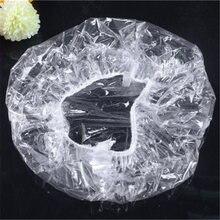 Couvre-cheveux jetables en plastique Transparent pour femmes, 100 pièces/paquet, accessoires pour salle de bain, Salon, Spa, hôtel