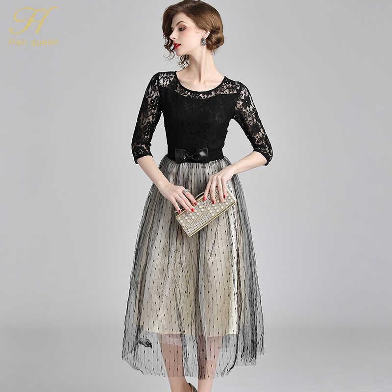 7ed63afba6fbb H Han Queen Sale Autumn Mesh Dresses Hollow Out Women Half Sleeve Floral  Crochet Casual Black Lace Dress Femininas Vestidos