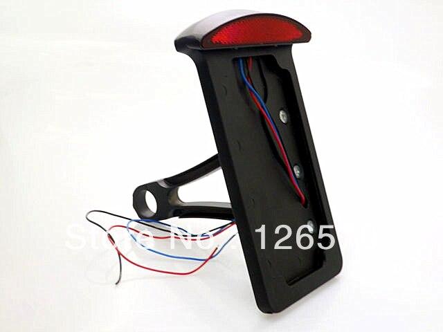 Noir moto LED montage latéral feu arrière plaque d'immatriculation verticale frein feu arrière pour Harley Sportster 883 Dyna Softail gros garçon