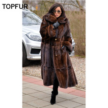 TOPFUR 2019 New Luxurious Real Mink Fur Coat Women Natural Outwear With Belt Genuine Jacket Plus Size Solid