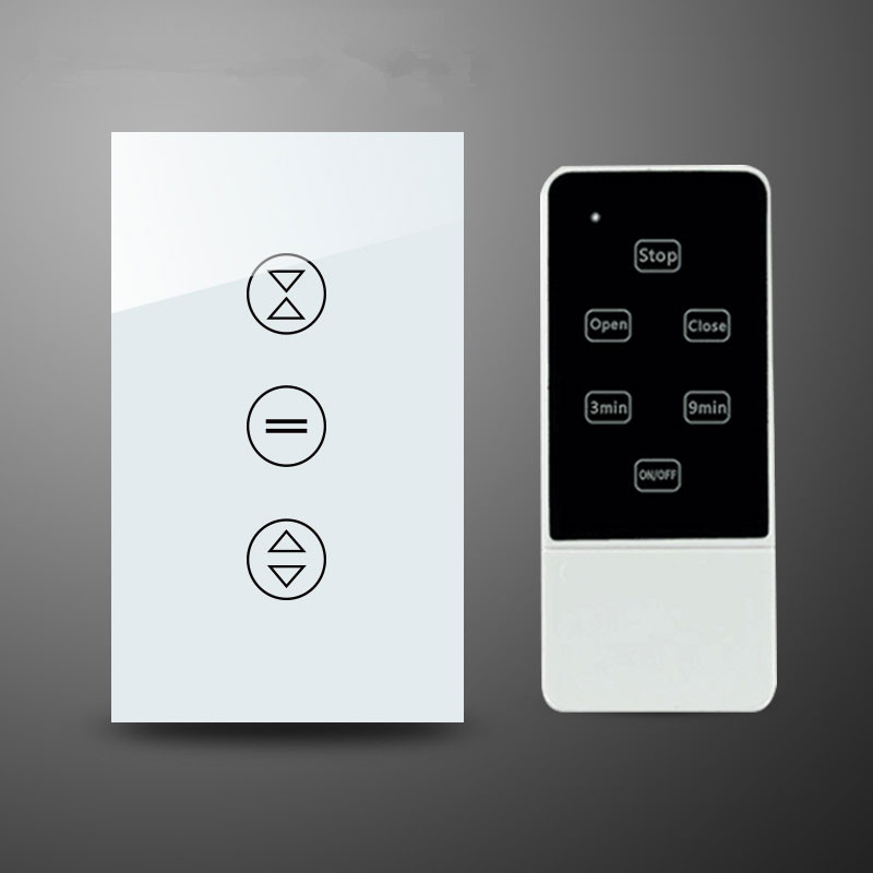 remote control wall switch white electric curtain switch and touch switch dc24v remote control switch system1receiver