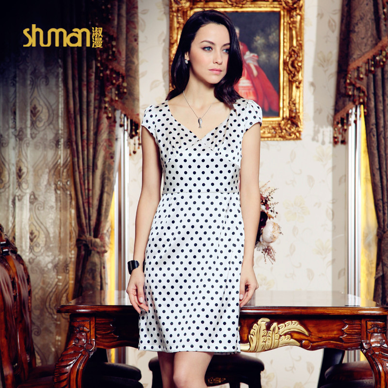Shuman polka dot silk one-piece dress fashion 2013 summer mulberry silk