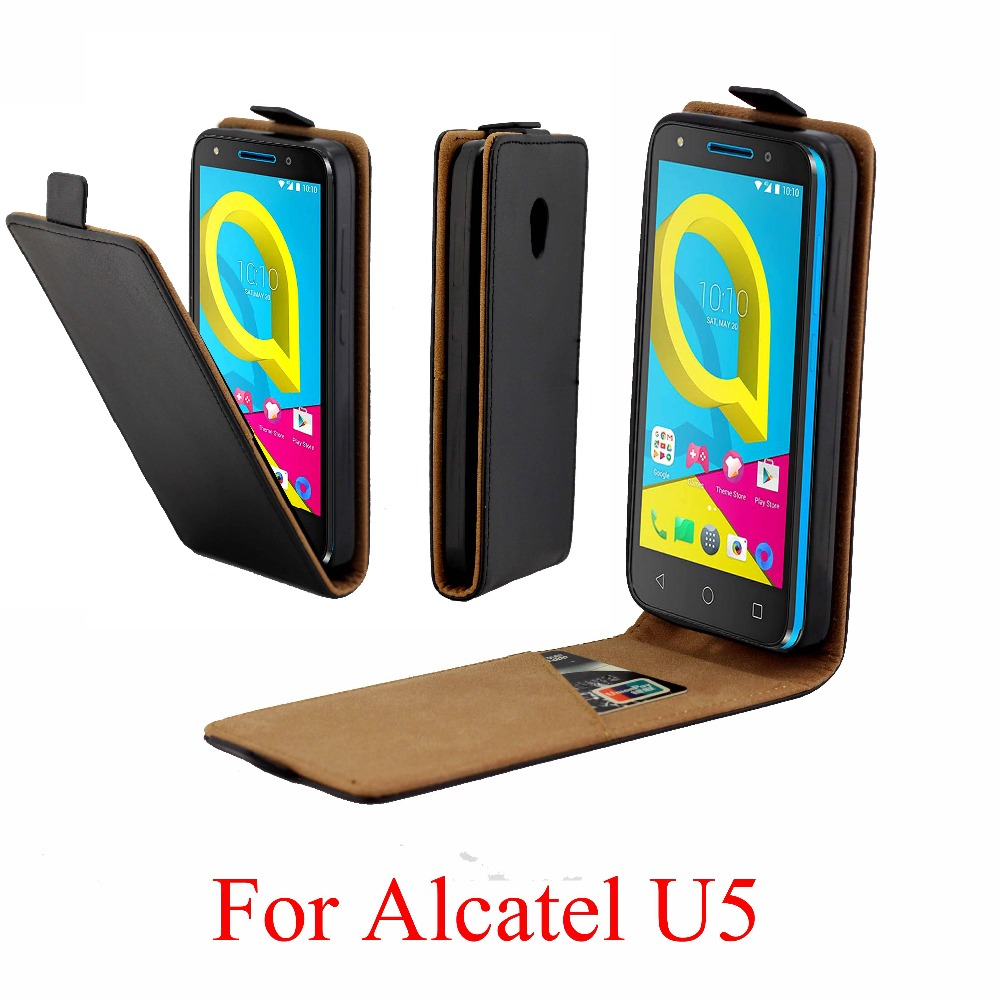 For Alcatel U5 HD 5047D Cover Luxury PU Leather Flip Case 4G 5044D Vertical Open Down Up for 3G 4047