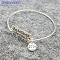 2016 Bracelets Bangles 2 pcs/lot Newest Women Fashion Copper Charms Letter She Believed She Could So She Did Bangle For Gifts