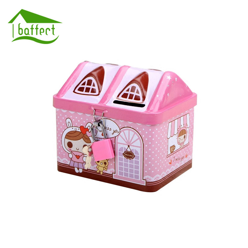 House Shape Money Box Piggy Bank Iron Coin