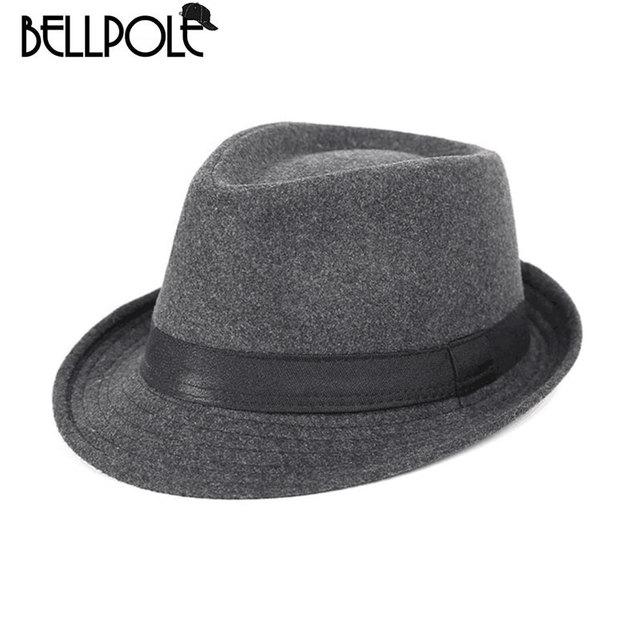Chapeau Homme Cappello Fedora sombrero hombres lana fieltro Sombreros  Simple elegante Top para Chapeau sólido de 22868c06cd73