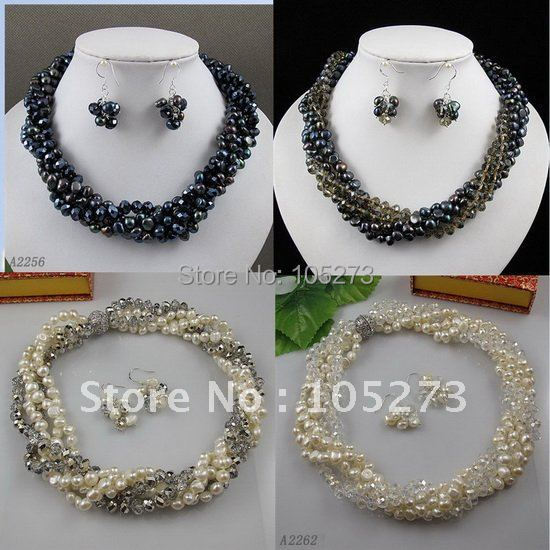 Charming!black white color Genuine freshwater pearl &Blue brown red crystal necklace earring 4set/lot free shipping A2315 charming color 100