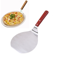 WHISM Stainless Steel Cake Holder Baking Tools Wooden Handle Pizza Shovel Cheese Cutter Spatula Peels Lifter